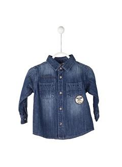 Silversun Kids Koyu Uzun Kol Çift Cepli Önden Düğmeli Baskılı Bebek Erkek Gömlek Gc 115080